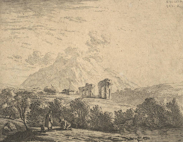 Wall Art - Relief - View Of Hillside With Ruins And Mountain Crag Beyond by Karel Dujardin