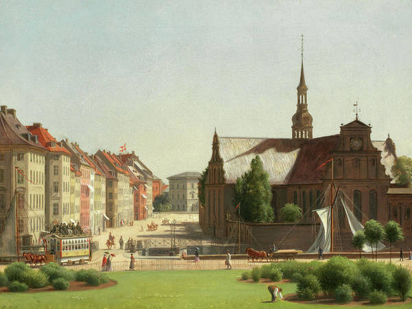 Wall Art - Painting - View Of Holmes Kirke Across Slotsplads From Christiansborg by Carl Christian Constantin