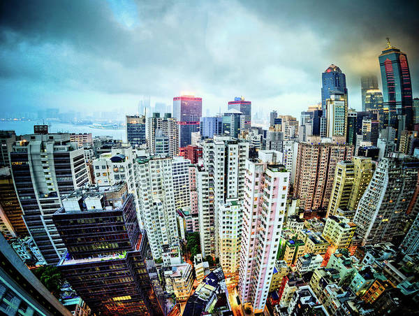 Fish Eye Lens Photograph - View Of Hong Kong by David Seigel