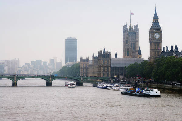 Westminster Bridge Photograph - View Of  Houses Of Parliament, London by Tony Eveling