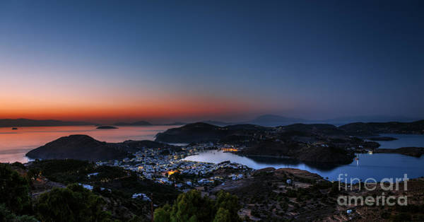 Monastery Wall Art - Photograph - View Of Patmos Island After Sunset by Lemonakis Antonis