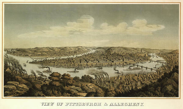 Wall Art - Painting - View Of Pittsburgh And Allegheny, 1874 by Otto Krebs