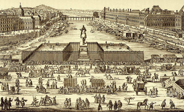 Wall Art - Drawing - View Of Pont-neuf In 1702, Paris by French School