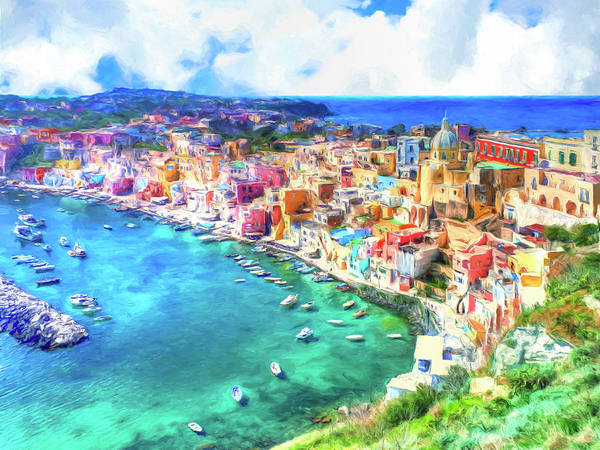 Painting - View Of Procida Italy by Dominic Piperata