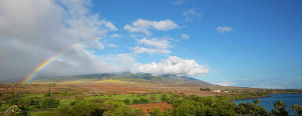 Wall Art - Photograph - View Of Rainbow Over A Landscape, Kaanapali, Maui County, Hawaii, Usa by Panoramic Images
