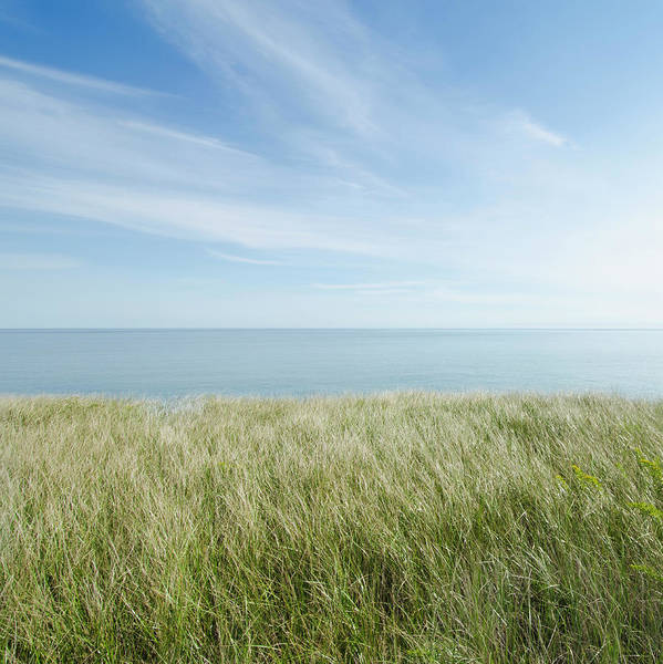 Nantucket Photograph - View Of Sea From Grassy Bluff by Nine Ok