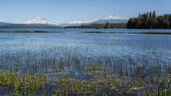 Photograph - View Of South Sister, Broken Top And Mount Bachelor Peaks From Crane Prairie Reservoir-pano by Belinda Greb