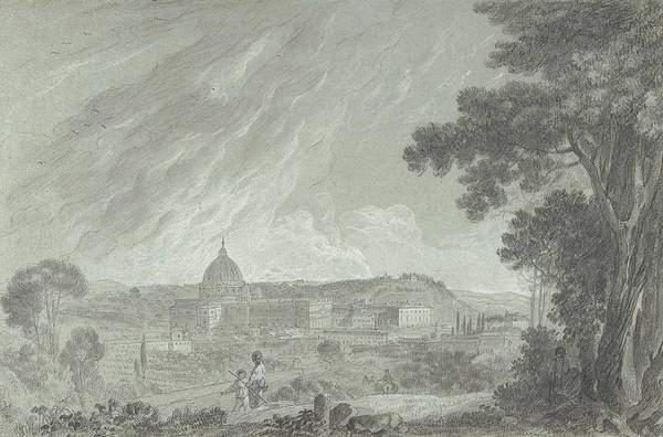 Drawing - View Of St. Peter's And The Vatican From The Janiculum by Richard Wilson