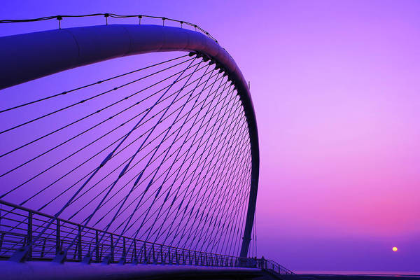 Wall Art - Photograph - View Of Suspension Bridge At Sunrise by Copyright By Patricklee