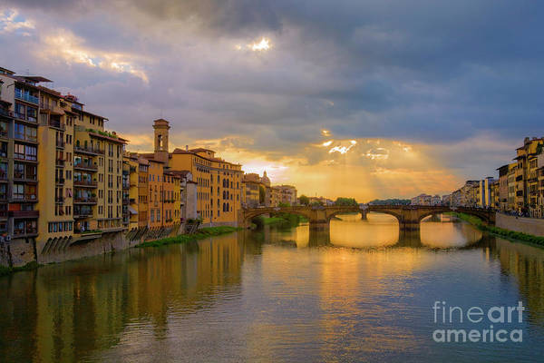 Wall Art - Photograph - View Of The Arno From The Ponte Vecchio by Diane Diederich