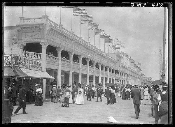 Rockaway Photograph - View Of The Boardwalk At Rockaway Beach by The New York Historical Society