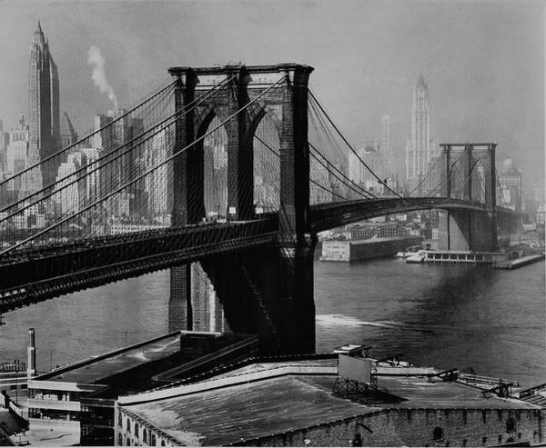 Photograph - View Of The Brooklyn Bridge & The Skyscr by Andreas Feininger