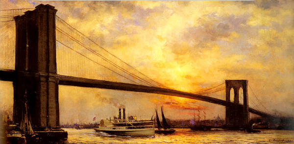 Painting - View Of The Brooklyn Bridge by Emile Renouf