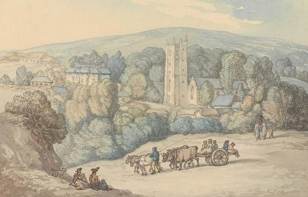 Drawing - View Of The Church And Village Of St. Cue, Cornwall by Thomas Rowlandson