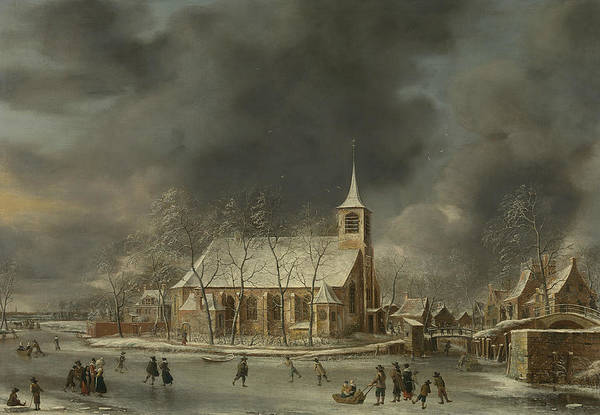 Wall Art - Painting - View Of The Church In Sloten In The Winter by Jan Abrahamsz Beerstraaten