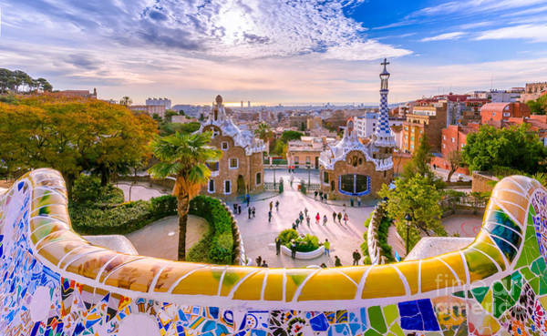 Wall Art - Photograph - View Of The City From Park Guell In by Georgios Tsichlis