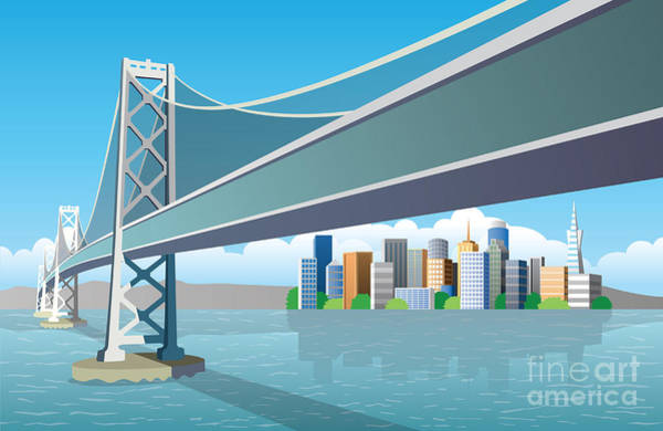 San Francisco Bridge Wall Art - Digital Art - View Of The City From The Sea by Nikola Knezevic