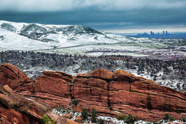 Photograph - View Of The Denver Skyline From Red Rocks Amphitheatre by Jeanette Fellows