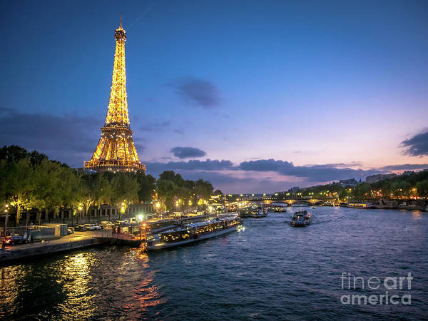 Photograph - View Of The Eiffel Tower During Sunset From The Scene River by PorqueNo Studios