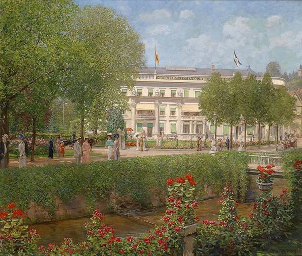 Wall Art - Painting - View Of The Hotel And Spa In Baden by Otto Albert Koch
