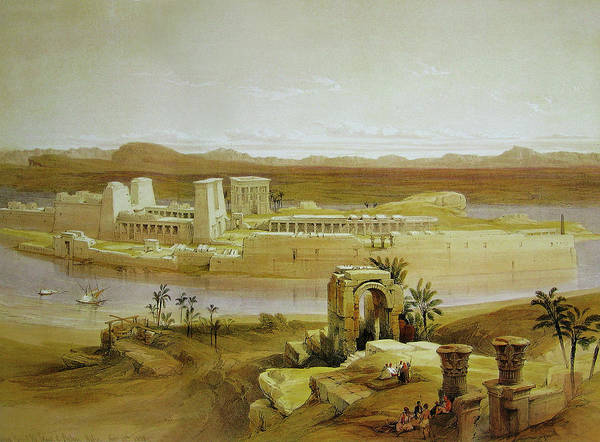 Philae Painting - View Of The Island Of Philae With Isis Temple And Trajan's Kiosk by David Roberts