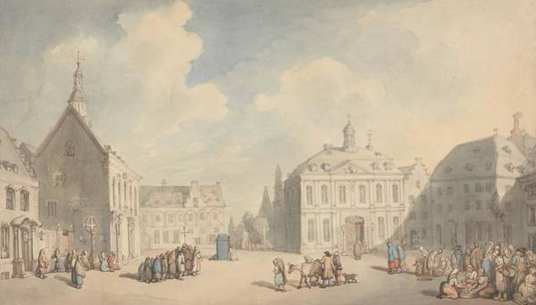 Drawing - View Of The Market Place At Juliers In Westphalia by Thomas Rowlandson