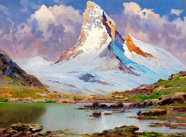 Wall Art - Painting - View Of The Matterhorn - Digital Remastered Edition by Toni Haller