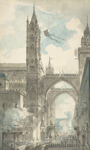 Jeans Drawing - View Of The Portal And Principal Entrance Of The Cathedral Of Palermo  by Louis Jean Desprez