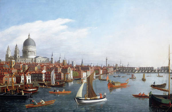 Wall Art - Painting - View Of The River Thames With St Paul's And Old London Bridge by William James