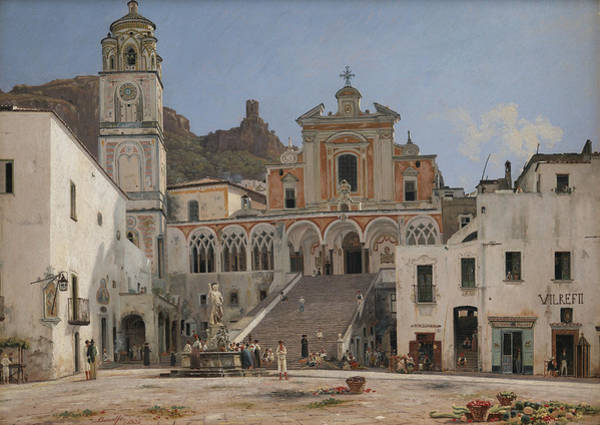 Wall Art - Painting - View Of The Square In Amalfi by Martinus Rorbye