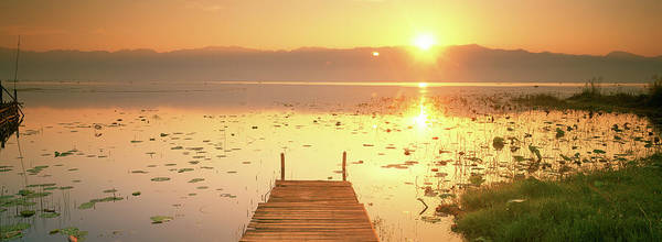 Wall Art - Photograph - View Of The Sunset And Pier, Inle Lake by Panoramic Images