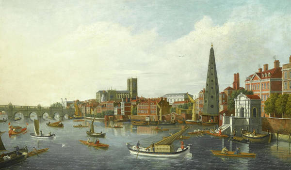 Wall Art - Painting - View Of The Thames At Westminster by William James