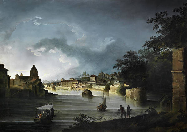Wall Art - Painting - View Of The Tiber With The Church San Giovanni Dei Fiorentini by Michael Wutky