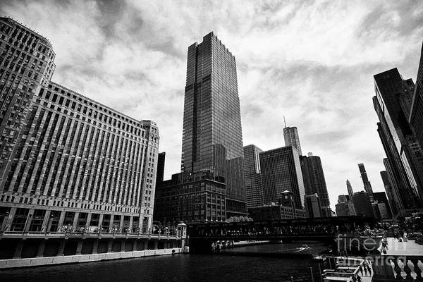 Wall Art - Photograph - View Of The Wells Street Bridge Over The Chicago River Merchandise Mart And 300 North Lasalle Skyscr by Joe Fox
