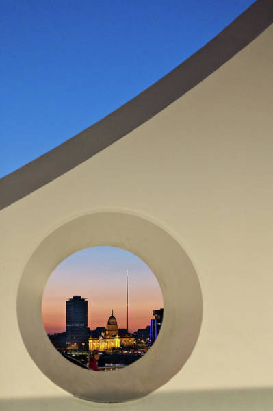 County Dublin Photograph - View Of Three Dublin Landmarks At Sunset by Dave G Kelly