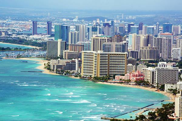Surf City Usa Photograph - View Of Waikiki And Honlulu by Allan Baxter
