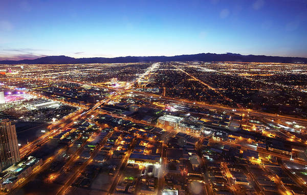 Stratosphere Wall Art - Photograph - View Of West Las Vegas At Dusk by Allan Baxter