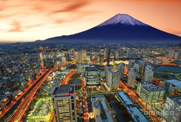 Wall Art - Photograph - View Of Yokohama And Mt. Fuji In Japan by Sean Pavone