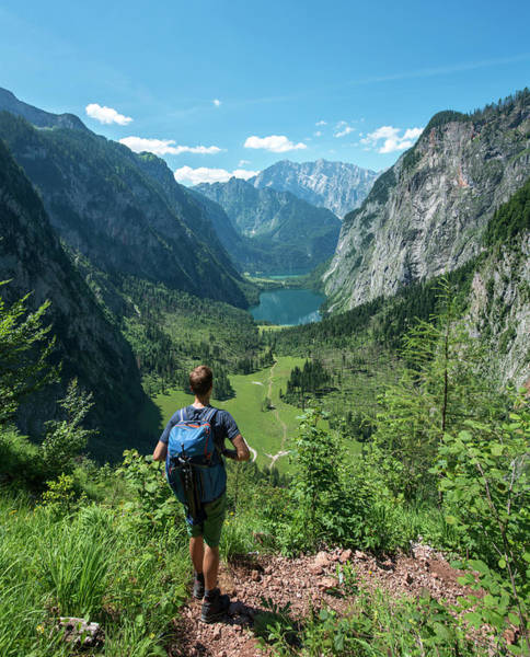 Wall Art - Photograph - View On The Lakes Obersee And Koenigssee Hikers On The Roethsteig In The Back Watzmann Berchtesgaden by imageBROKER - Mara Brandl