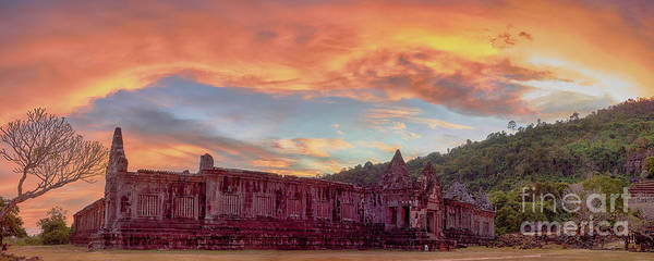 Wall Art - Photograph - View On The South Palace Of The Vat Phou Temple Complex Unesco World Heritage Site At Sunset Time by MotHaiBaPhoto Prints