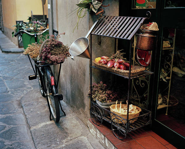 Bicycle Rack Photograph - View Outside A Traditional Food Shop by Gary Yeowell