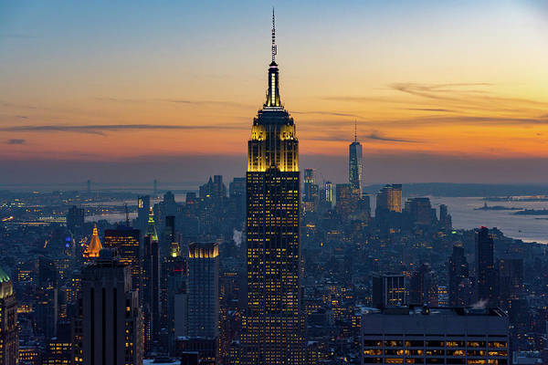 Photograph - View Over Manhattan At Sunset by Mark Hunter