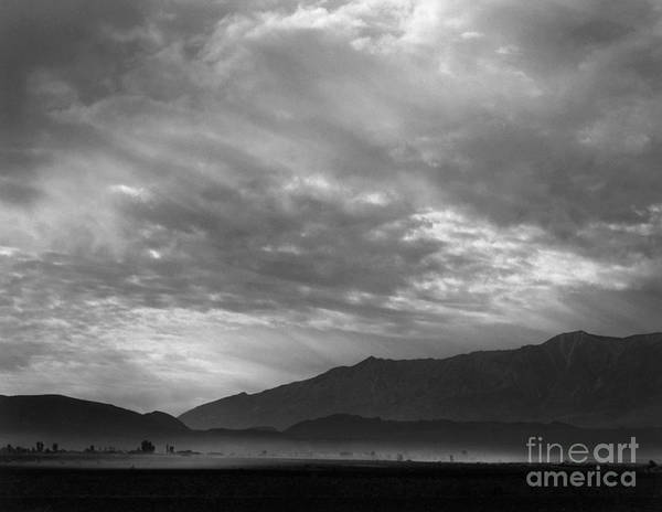 Wall Art - Photograph - View Sw Over Manzanar, Dust Storm, California, 1943  by Ansel Adams
