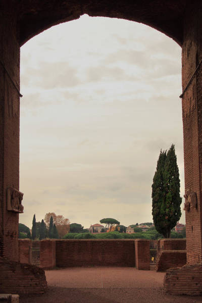 Photograph - View Through Archway Of Domitians Palace On Palatine Hill At Sunset by Angela Rath