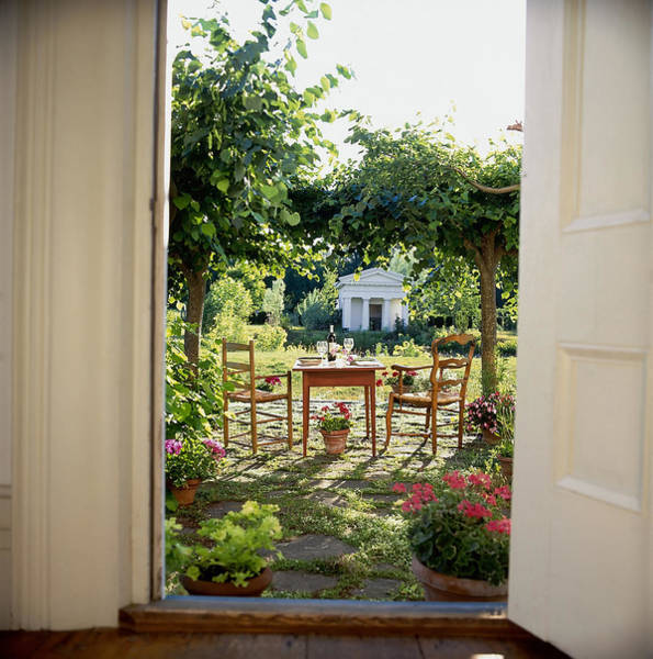 Setting Photograph - View To Table Setting On Terrace by Richard Felber