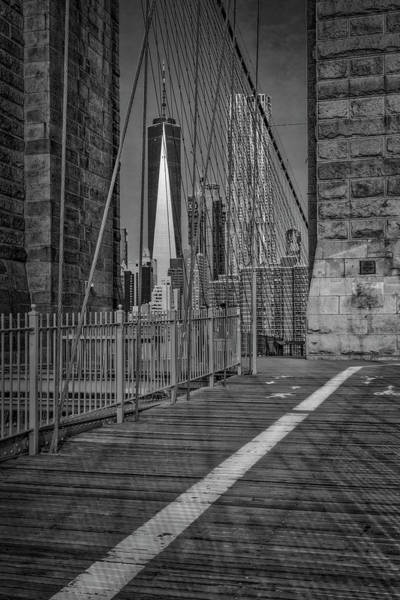 Wall Art - Photograph - View To Wtc Lower Manhattan Nyc Bw by Susan Candelario