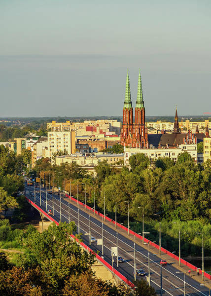 Wall Art - Photograph - View Towards The Praga District And St Florian S Cathedral Warsaw Masovian Voivodeship Poland by imageBROKER - Karol Kozlowski