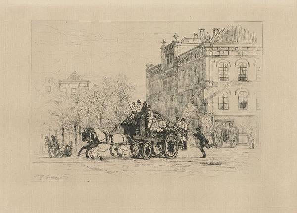 Wall Art - Painting - View Weesperplein With Fire, Johan Conrad Greive, 1847 - 1891 by Johan Conrad Greive