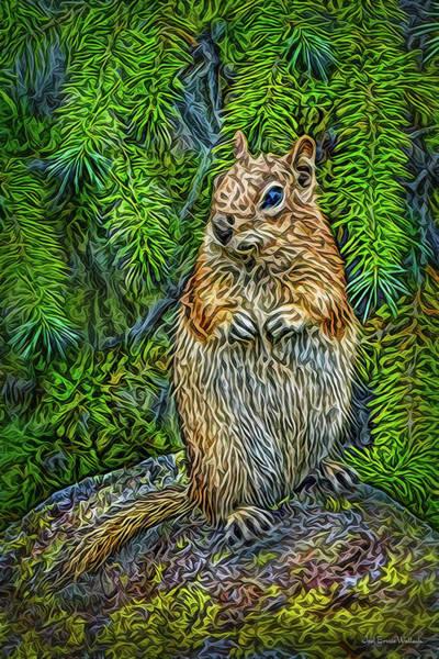 Digital Art - Vigilant Chipmunk by Joel Bruce Wallach