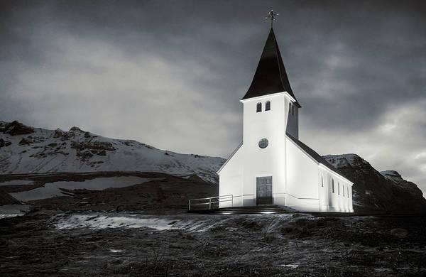 Photograph - Vik Church Iceland Bw by Joan Carroll